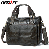 OGRAFF Genuine Leather Men Shoulder Bags Messenger Bag Men Leather Handbags Vintage Men Travel Bags Briefcase