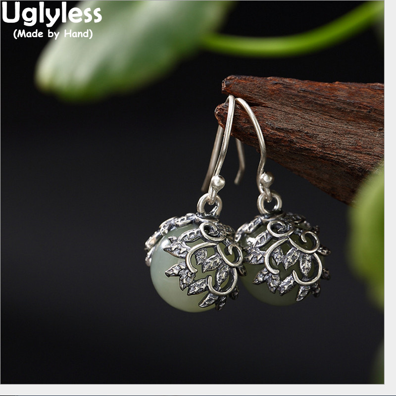 9a91a44fcc46e US $24.63 35% OFF|Uglyless S 925 Sterling Silver Natural Jade Balls Dangle  Earrings Ladies Retro Handmade Hollow Leaves Brincos Thai Silver Bijoux-in  ...