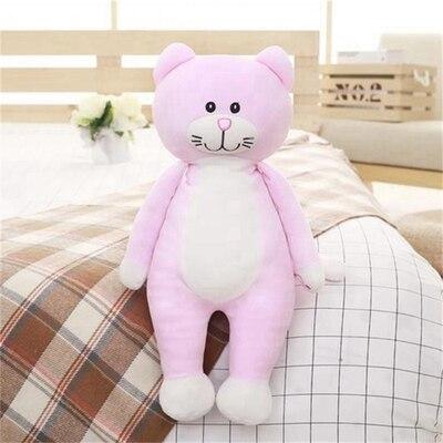 Taille moyenne doux rose chat jouet dessin animé en peluche chat poupée oreiller cadeau environ 80 cm
