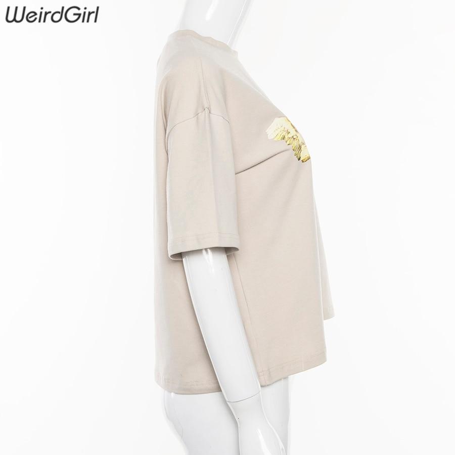 Weirdgirl Women Baby Angel Printing Casual Fashion T-shirts letter Short Sleeve O-Neck Khaki Loose Female Tees Summer New 19 4