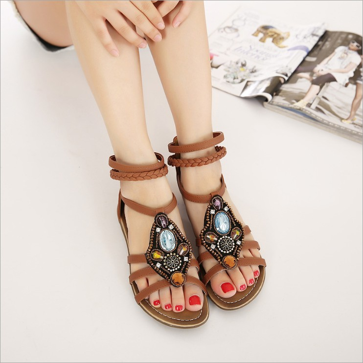 ФОТО The new summer Bohemia after national wind shoes handmade beaded rhinestone peep-toe zipper low heel sandals