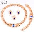Женщины новая Мода Свадебные Позолоченный кристалл Ожерелье Серьги набор подарка партии Африканский Костюм Ювелирные Наборы