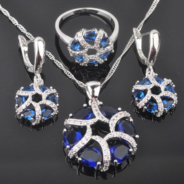 Único Azul Piedra Cúbica del Zirconia 925 de Plata Esterlina de Las Mujeres Juegos de Joyería Pendientes/Colgante/Collar/Anillos de Envío gratis QZ032