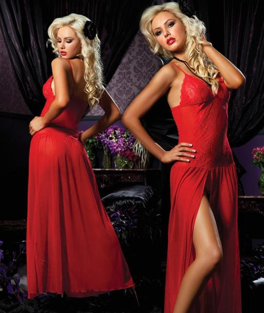 Plus Size Elastic Sexy RED Black Lace Split Skirt Lingerie Gown ...