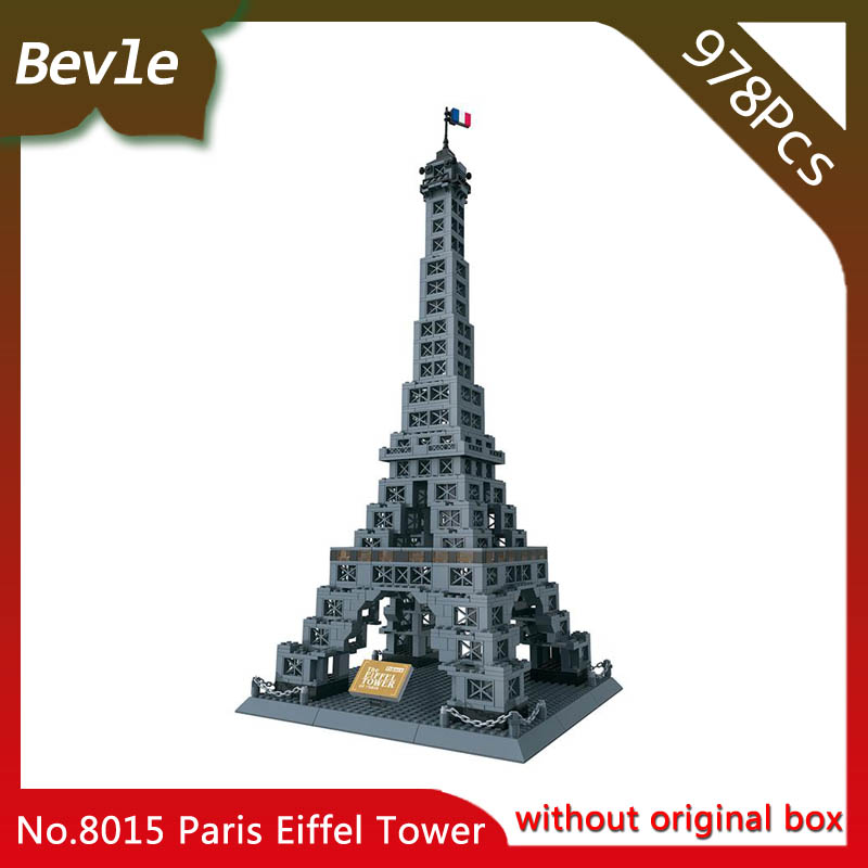 Bevle Store LEPIN 8015 978Pcs Street View Series Eiffel Tower Model Building Blocks set Bricks Children For Toys Wange Gift compatible lepin city mini street view building blocks chinatown satin silk store with saleman figures toys for children gift