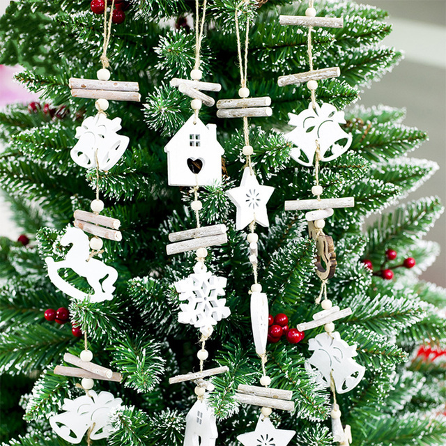 white christmas tree decoration snowflake wooden deer snowman xmas tree hanging ornament new year gifts navidad