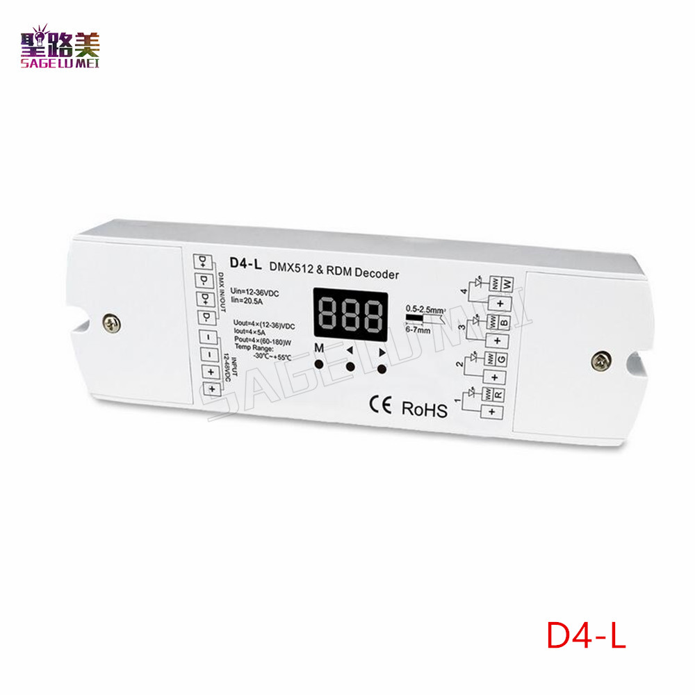 DC5V-24V 4 Channel 4CH PWM Constant Voltage / Constant Current DMX Decoder DMX512 LED Controller For RGB RGBW LED Strip Lights