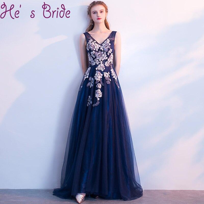 dec2da2b4f Evening Dress Elegant Dark Blue Robe De Soiree V Neck Sleeveless Lace Up  Back A Line Tulle Lace Flowers Party Prom Dress