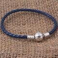 Zmzy original 925 clip de plata oscuro azul del encanto del cuero genuino pulsera de la joyería para las mujeres 1-3 capa