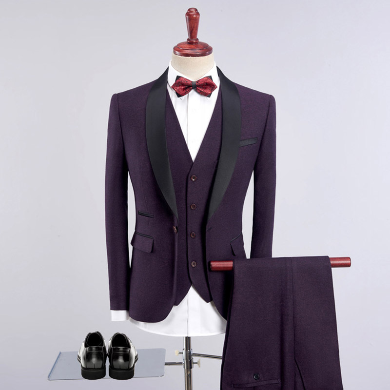 Sensfun 2019 Slim Man Suit Blazers Casual Business Coat One Button For Groom Wedding Party Jacket+Vest+Pants 3 Piece Suits sets
