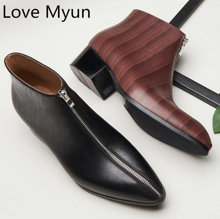 الخريف الشتاء الدافئة جلد أصلي للرجال الأحذية عالية الكعب الأزياء البريدي تصميم رجل الأعمال اللباس حذاء من الجلد جودة الزفاف أحذية-في أحذية العمل والسلامة من أحذية على  مجموعة 1