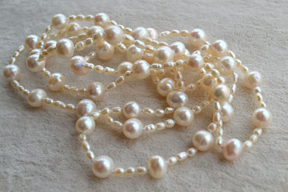 Perfect Pearl Necklace,White 40'' AA 3-9MM Rice Potato Shape Real Freshwater Pearl Necklace,Fashion Lady's Jewelry.