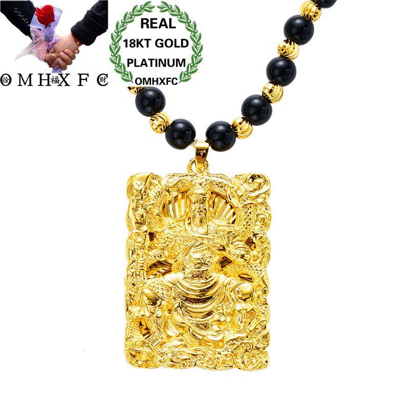 MHXFC gros mode européenne homme mâle fête cadeau de mariage Dragon GUANYIN Rectangle réel 18KT or pendentif collier NL161
