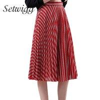 SETWIGG 2018 מתכתי אביב אדום/כסף ברק פסים קפלים Midi חצאיות אלסטיים מותן מתוק קו חצאית קפלים ארוכה SG04