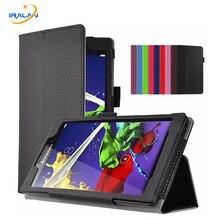 Litchi Soporte Folio Funda Protectora Para Lenovo Tab 3 8 TB3-850F TB3-850M TB3-850X 8.0 pulgadas PU Cubierta de Cuero de la Tableta PC + film + stylus