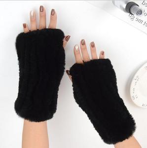 Image 4 - Frauen 100% Echt Echte Gestrickte Rex Kaninchen Pelz Winter Fingerlose warme weiche Handschuhe Fäustlinge Arm Hülse