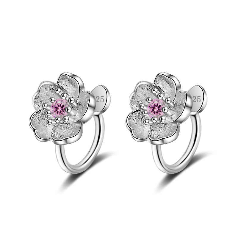 Sweet Cherry Flower Shine Cubic Zirconia Female Birthday Gift 925 Sterling Silver Lady Clip Earrings Jewelry No Fade Cheap