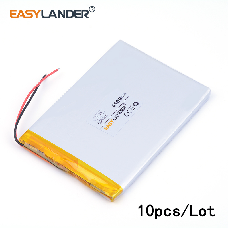 10pcs /Lot 656596 <font><b>4100mAH</b></font> <font><b>3.7v</b></font> lithium Li ion polymer rechargeable <font><b>battery</b></font> Naptop e-book video game IPAQ MID cell phone speaker image