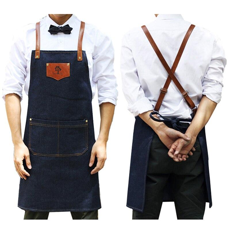 New 2018 BBQ Denim cowboy Apron Bib Leather Straps Chef Kitchen Apron for Women Men Pockets barber cook Restaurant Waitress Logo
