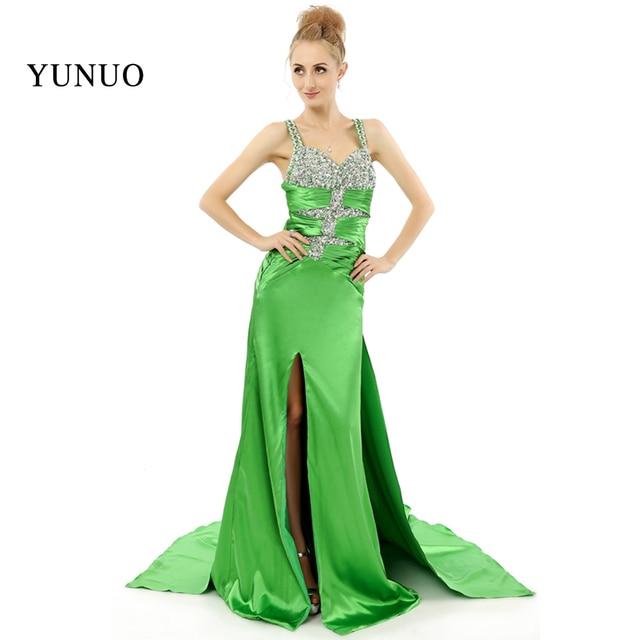 24088ebb5c Elegant Green Prom Dress Long Floorlength Spaghetti Strap Rhinestones Top  Backless Open Slit Satin Sexy Prom Dresses x08246