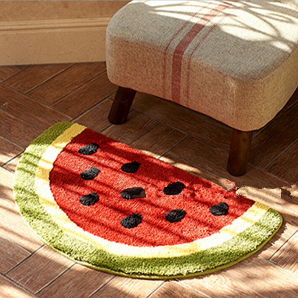 Order: 1 Piece. Non Slip Water Absorbing Cute Fruits Lemon Watermelon Half  Round Shaped Bathroom Rugs Kitchen