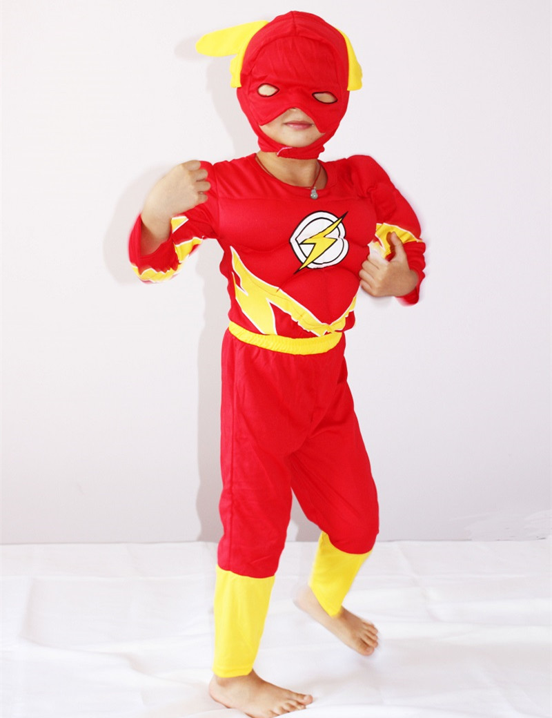 3-7Years Boy The Flash Muscle Costume Halloween Costume For Kids Blitzmann/Barry Allen Cosplay Shirt+Pants+Mask Set S-XXL
