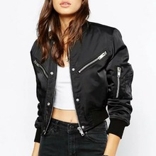 2016 Winter Flight black color bomber jacket women jacket and women's coat clothes bomber ladies Military Flight chaquetas mujer
