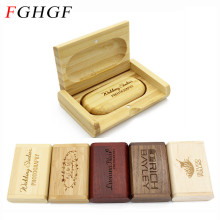 FGHGF (over 10 PCS free LOGO) customer Wooden USB Flash Drive Memory Stick + Packing Box pendrive 8GB 16GB 32GB wedding gift