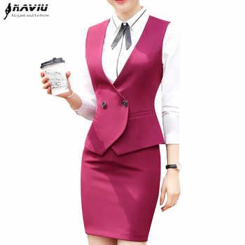 Business interview Vest skirt suits set women 2018 fashion new formal slim vest and skirt office ladies plus size work uniforms - DISCOUNT ITEM  24% OFF Women\'s Clothing