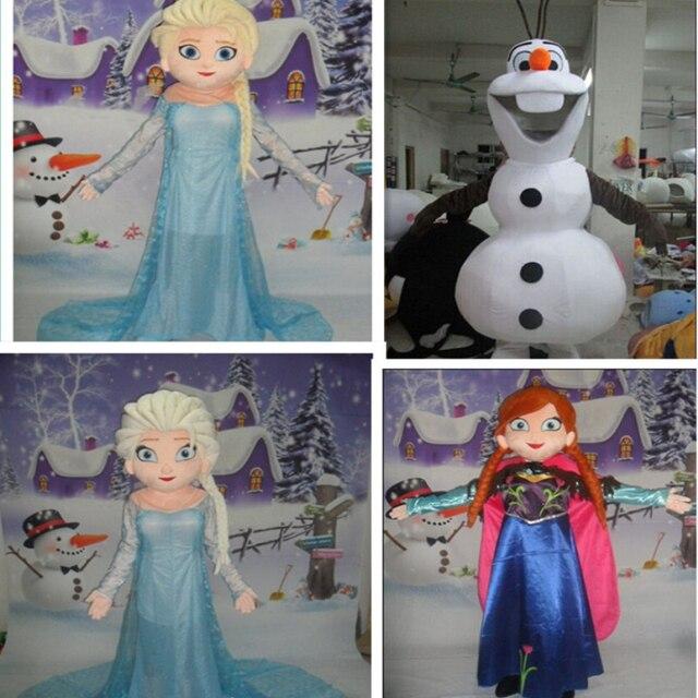 BING RUI CO High quality Olaf mascot costume Elsa queen mascot costume and princess Anne mascot Adult size
