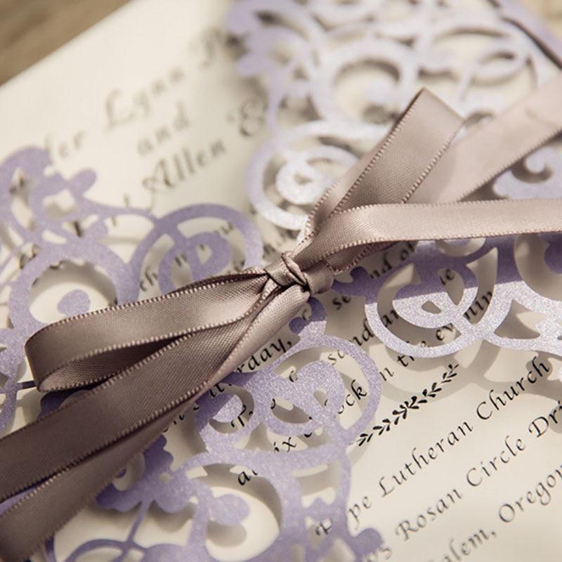 10 Kit Design Flower Fold Purple Invitations Cards For Wedding Laser