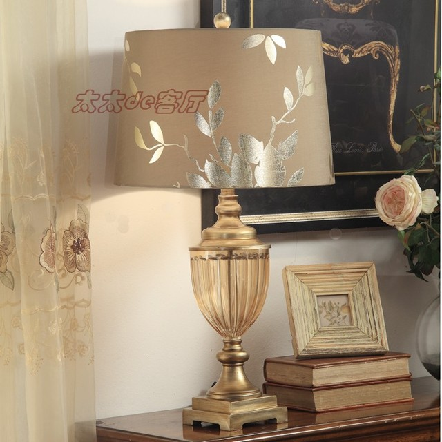 Fashion champagne luxury gold glass table lamp american bedroom ...