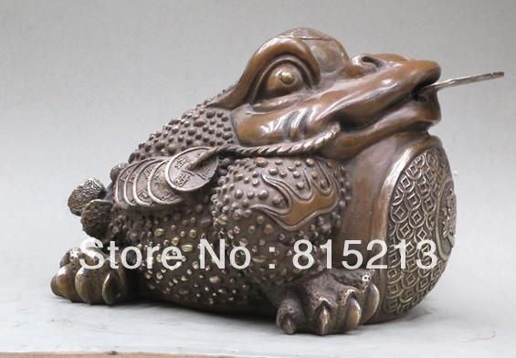 "bi00606 12""Chunghua hand Carved geomancy Feng shui money 3 leg JinChan Frog statue|statue|statue hands|  - title="
