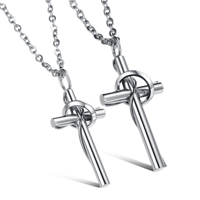 Cross pendant fashion jewelry sweet love necklace couple puzzle cross pendant fashion jewelry sweet love necklace couple puzzle pendants for lovers stainless steel pair titanium mozeypictures Choice Image