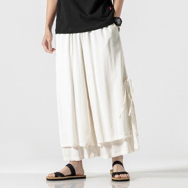 Homens De Linho De Algodão Solto Casual 2 PCS Emendados Calças Perna Larga Harem Pants Masculino Mulheres Amantes Da Moda Streetwear Chinês Saia Calças