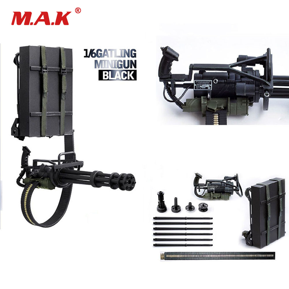 1:6 Scale Gatling Mini Gun Black M134 Heavy Machine Gun for 12 inches Action Figure