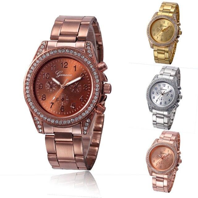 c89f8f89adb Relogio feminino 2018 Mulheres Relógios Menina relógio de Prata de Ouro do  Café do Aço Inoxidável