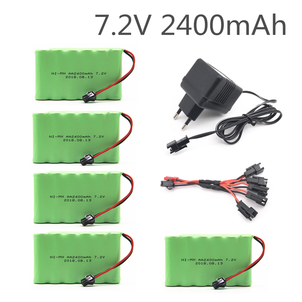 7.2v 2400mah AA NI-MH Battery With Charger High Capacity Electric Toy Battery Remote Car Ship Robot Rechargeable 7.2 V 2400 Mah