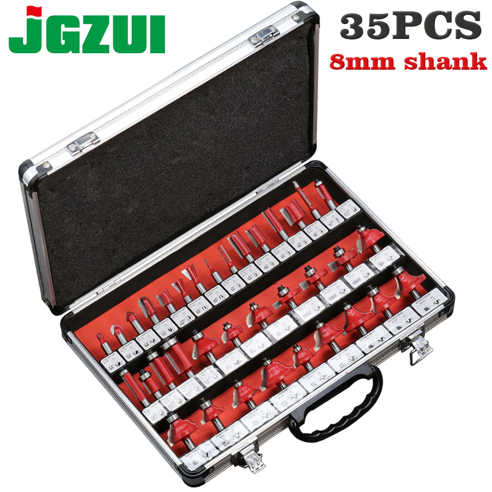 35pcs 8mm Router Bits Set Professional Shank Tungsten Carbide Router Bit Cutter Set With Wooden Case For Wood