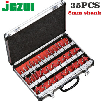 35pcs 8mm Router Bits Set Professional Shank Tungsten Carbide Bit Cutter With Wooden Case For Wood - sale item Machinery & Accessories