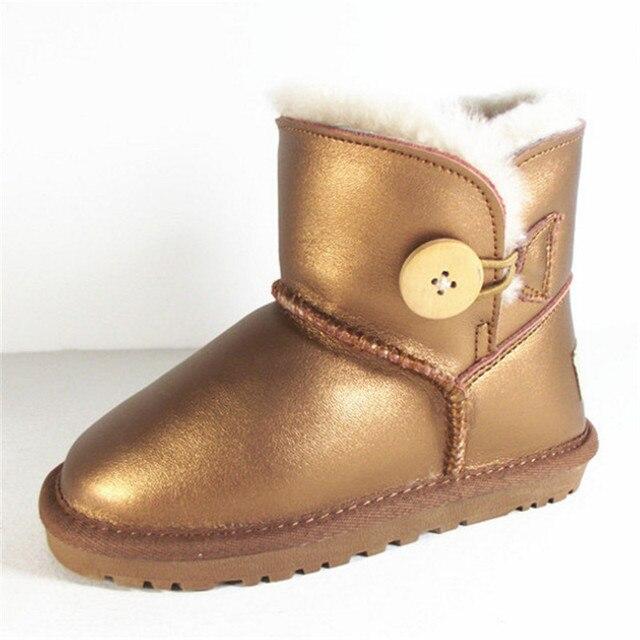 cb129d87c86 US $32.04 41% OFF|Australia Brand Boys Girls Snow Boots Kids Winter Shoes  Warm Plush Sheepskin Toddler Girls Snow Boots Waterproof Ankle Kids Boot-in  ...
