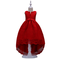 BAOHULU Girls Lace Dress Little Girl Long Dresses Kids Prom Costume Swallowtail Design V Neck with Big Bow Wedding Clothes Red