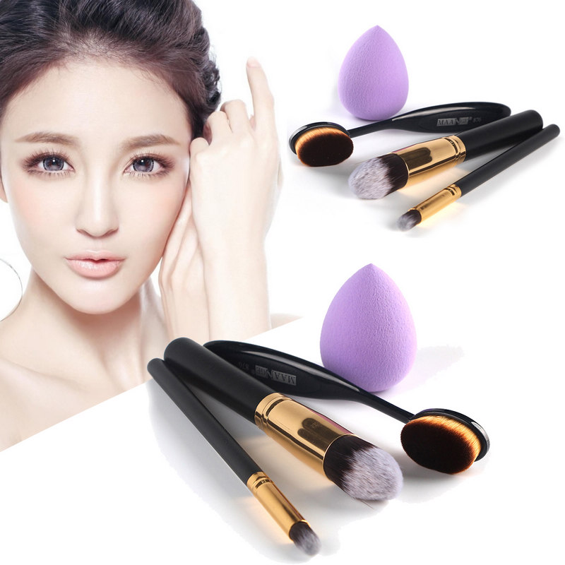 4in1 Eyeshadow Face Makeup Brushes Set Powder Brush Sponge Puff Cosmetic Makeup Kits candy color calabash shaped cosmetic makeup cotton pads sponge puff pink