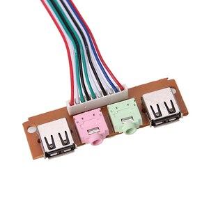 Image 5 - 2 USB 2.0 PC bilgisayar kasa ön Panel USB ses jakları Port masaüstü bilgisayar USB uzatma tel için mikrofon kulaklık kablo kordonu