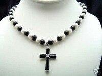 Atacado 2 pcs  antique Jóias incomum Elegante Jóias branco pérola jóia colar de pingente de cruz colares