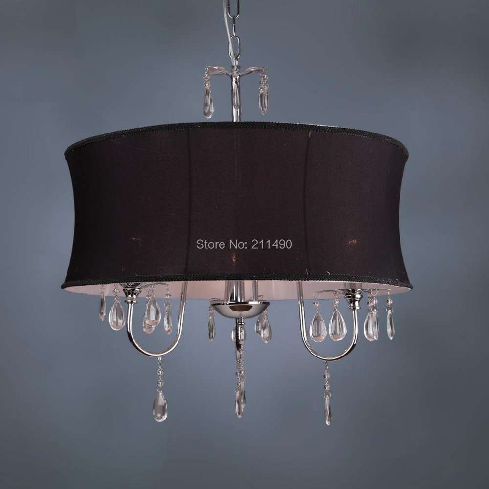 Black Fabric Drum Shade Crystal Modern Chandelier Chrome Finish With 3 Lights Max 120w In Chandeliers From Lighting On Aliexpress Com Alibaba