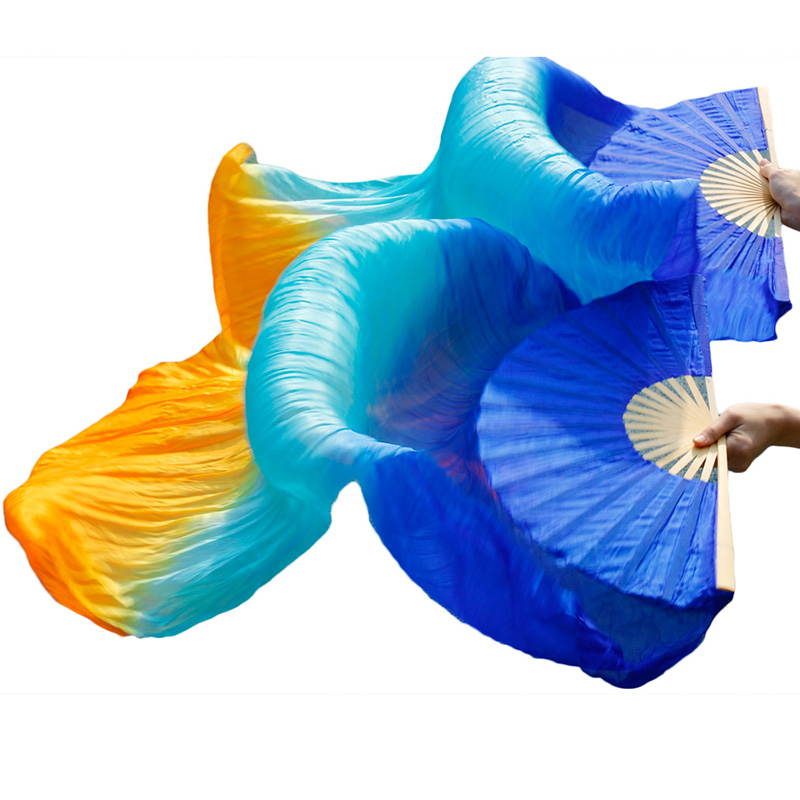 100% Real Silk 1pc Right Hand+1pc Left Hand 5 Sizes Handmade Dyed Belly Dance Silk Fans Dance Props Royal Blue+Turquoise+Orange