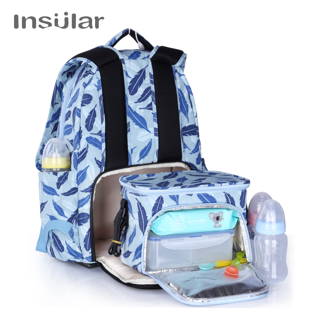 INSULAR Mother Bag Baby Nappy Bag Large Capacity Maternity Mummy Diaper Backpack with Thermal Insulation Diaper Stroller Bag gzl new gray waterproof cooler bag large meal package lunch picnic bag insulation thermal insulated 20