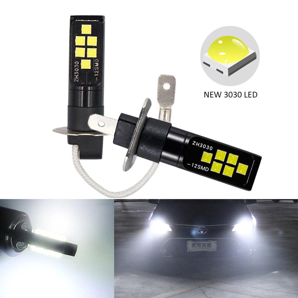 2PCS H3 H1 Car Fog LED Light Bulbs 3030 12 LED Canbus Lamp DRL Car Driving