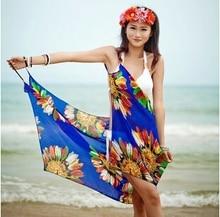 Summer Sexy Hawaiian Dress Women's Beach Wear Swimsuit Bathing Suit Bikini Cover Ups Swimwear 6 colors Silk